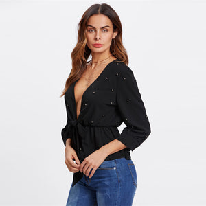 Allover Beading Knot Front Peplum Blouse - SaltyandCozy