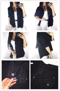 Studded Frayed Hem Denim Jacket  Black Lapel Single Breasted - SaltyandCozy