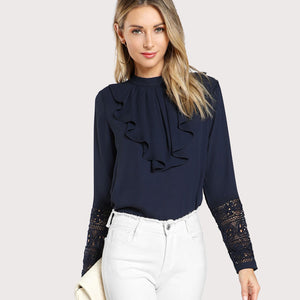 Navy Blue Ruffle Blouse - SaltyandCozy