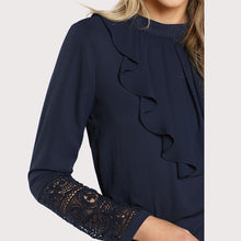 Load image into Gallery viewer, Navy Blue Ruffle Blouse - SaltyandCozy