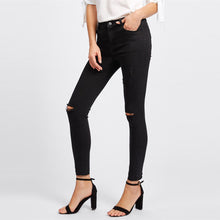 Load image into Gallery viewer, Knee Rips Hem Skinny Denim Jeans - SaltyandCozy