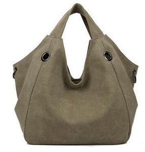 Canvas Tote Bag Solid Shoulder Bag Travel Bag - SaltyandCozy