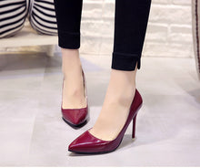 Load image into Gallery viewer, Pointed Toe Patent Leather Pumps - SaltyandCozy