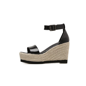 Wedge Sandals Shoes  Straw Hemp Rope Ankle Strap Buckle High Heels - SaltyandCozy