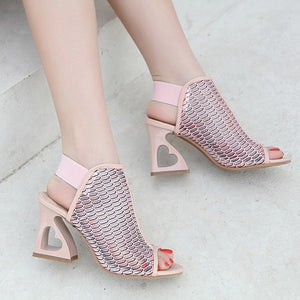 Pee toed Sandals Shoes Woman High Heels Shoes Fashion Hollow out Heart Heel - SaltyandCozy