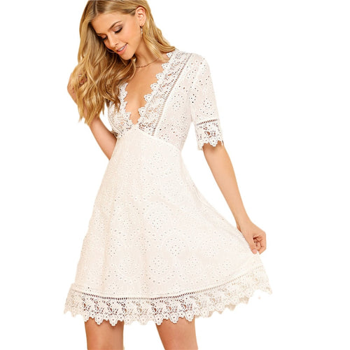 Dress Women White Lace Trim Eyelet Embroidered Deep V Neck Half Sleeve Cut Out