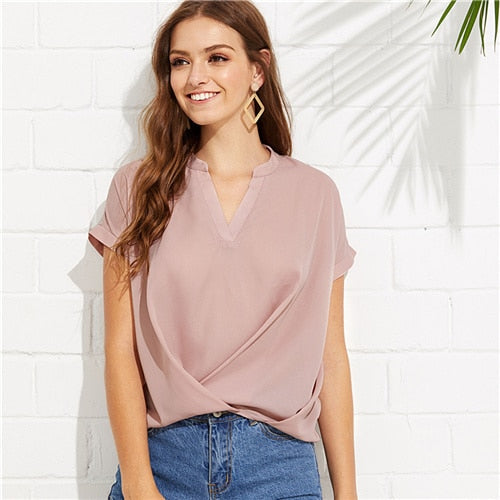 Pink Draped V Neck Blouse - SaltyandCozy