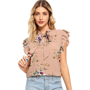 Flounce Shoulder Tied Neck Floral Blouse - SaltyandCozy