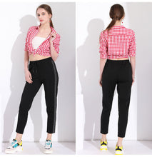 Load image into Gallery viewer, Black Casual Striped Pants - SaltyandCozy