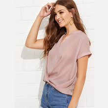 Load image into Gallery viewer, Pink Draped V Neck Blouse - SaltyandCozy