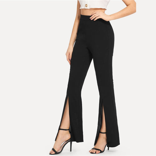 Black Split Solid   Elegant Plain Mid Waist Casual Women Pants