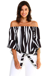 Women's Strapless Cold Shoulder Top Striped Bandage Blouse