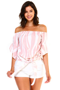 Women's Strapless Cold Shoulder Top Striped Bandage Blouse - SaltyandCozy