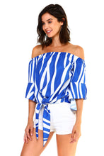 Load image into Gallery viewer, Women's Strapless Cold Shoulder Top Striped Bandage Blouse - SaltyandCozy
