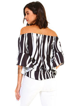 Load image into Gallery viewer, Women's Strapless Cold Shoulder Top Striped Bandage Blouse
