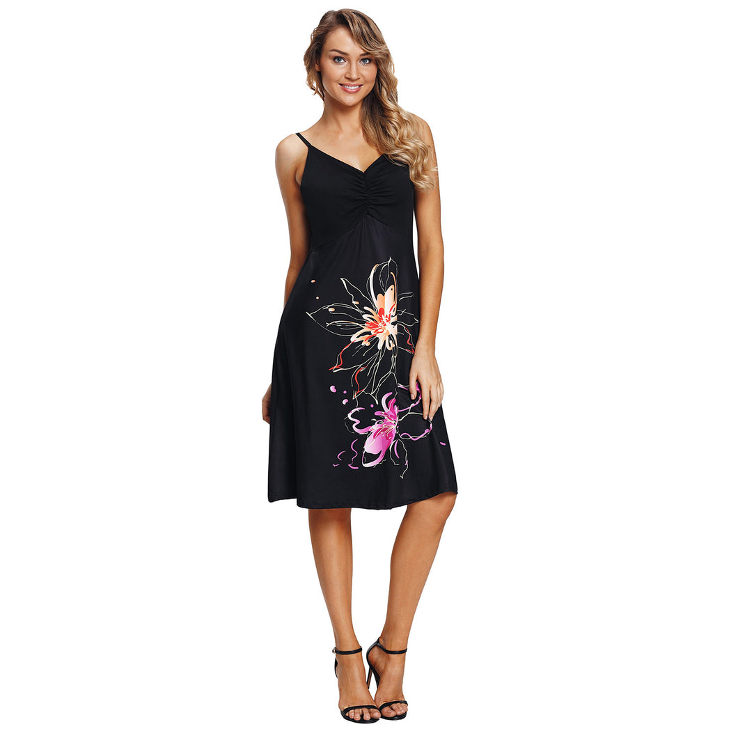 Women Summer Sexy V-neck Print Evening Cocktail Party Ball Gown Midi Dress - SaltyandCozy