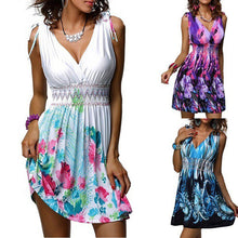 Load image into Gallery viewer, Women V Neck Floral Summer Mini Vest Dress Sleeveless Holiday Swing Sundress - SaltyandCozy