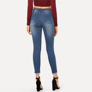 Blue Ripped Denim Jeans - SaltyandCozy