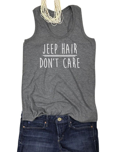 Women Summer Solid Color Simple Letter Print Tank Top Jeep Hair Don't Care Funny Tees - SaltyandCozy