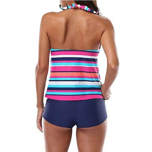 Women Striped  Swimsuit High Waist Swimwear 2 Pieces Tankini  Bathing Suit - SaltyandCozy