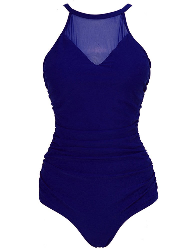 Women Grenadine Splice Solid Color Halter Full Coverage  One-Piece Swimsuit - SaltyandCozy