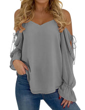 Load image into Gallery viewer, Women Chiffon Tie Up Long Sleeve Cold Shoulder  Shirt