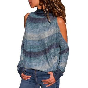 Women's  Pullover High Neck Cold Shoulder Knitted Top - SaltyandCozy