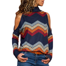 Load image into Gallery viewer, Women's  Pullover High Neck Cold Shoulder Knitted Top - SaltyandCozy