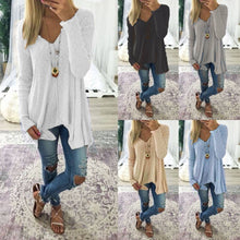 Load image into Gallery viewer, Ladies Oversize Long Sleeve Baggy T-shirt Blouse  Casual V Neck Tops - SaltyandCozy