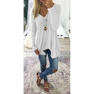 Ladies Oversize Long Sleeve Baggy T-shirt Blouse  Casual V Neck Tops - SaltyandCozy