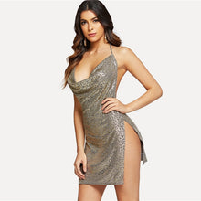 Load image into Gallery viewer, Clubwear Neck High Slit Metallic Backless Draped Split Dress - SaltyandCozy