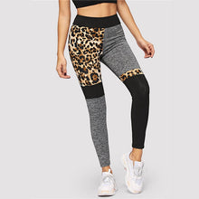 Load image into Gallery viewer, Color-Block Leopard Print Mid Waist Casual Leggings Patchwork Pants