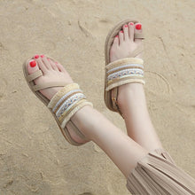 Load image into Gallery viewer, Summer  Flat Sandals  Bohemia Flip Flop Frayed Fringe Tassel Casual Beach Sandals - SaltyandCozy