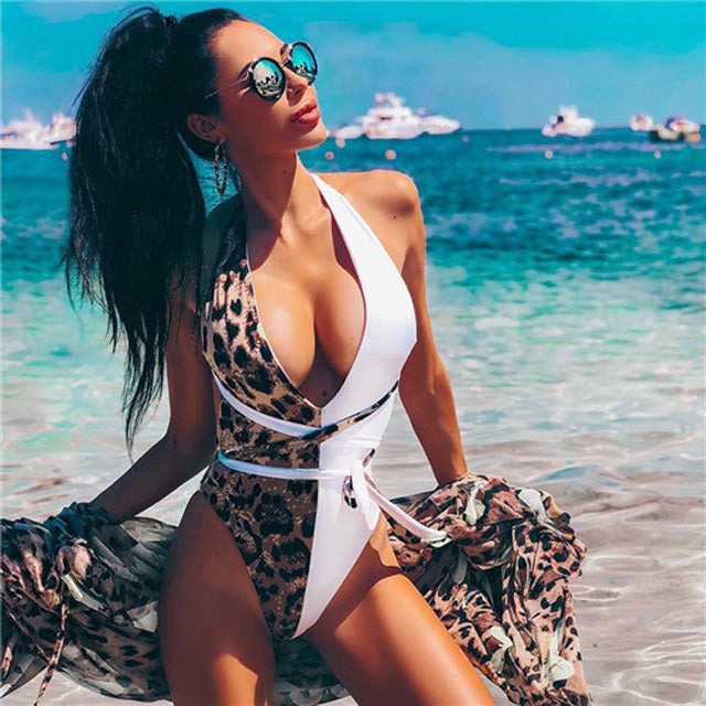 Leopard One Piece Swimsuit Push Up Swimwear - SaltyandCozy