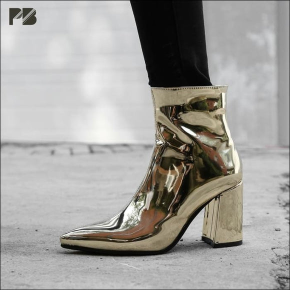 Metallic Squared Heel Boots - Prettybae Shop