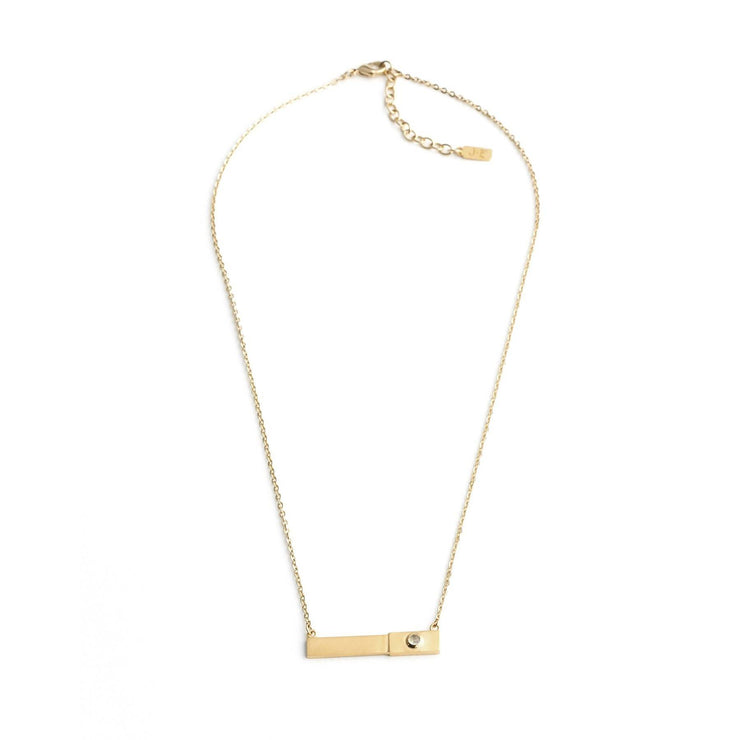 Milo Horizontal Necklace - Rainbow Moonstone