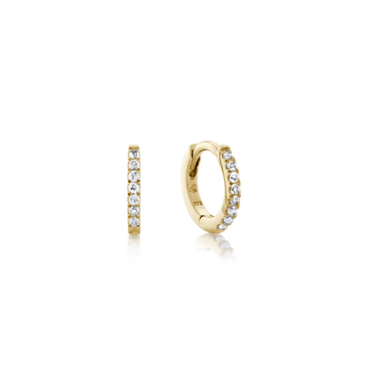 Anna Mini Huggie Hoop, 9k Yellow Gold & White Topaz