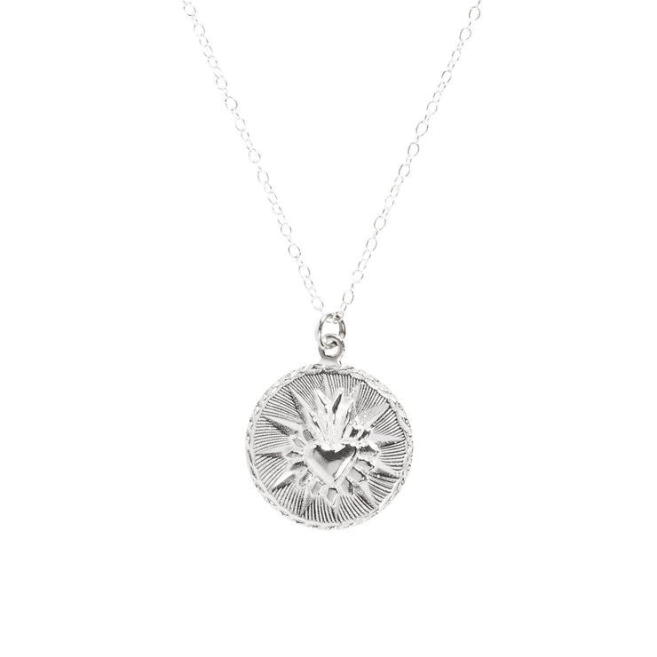Corazon Round Necklace Silver