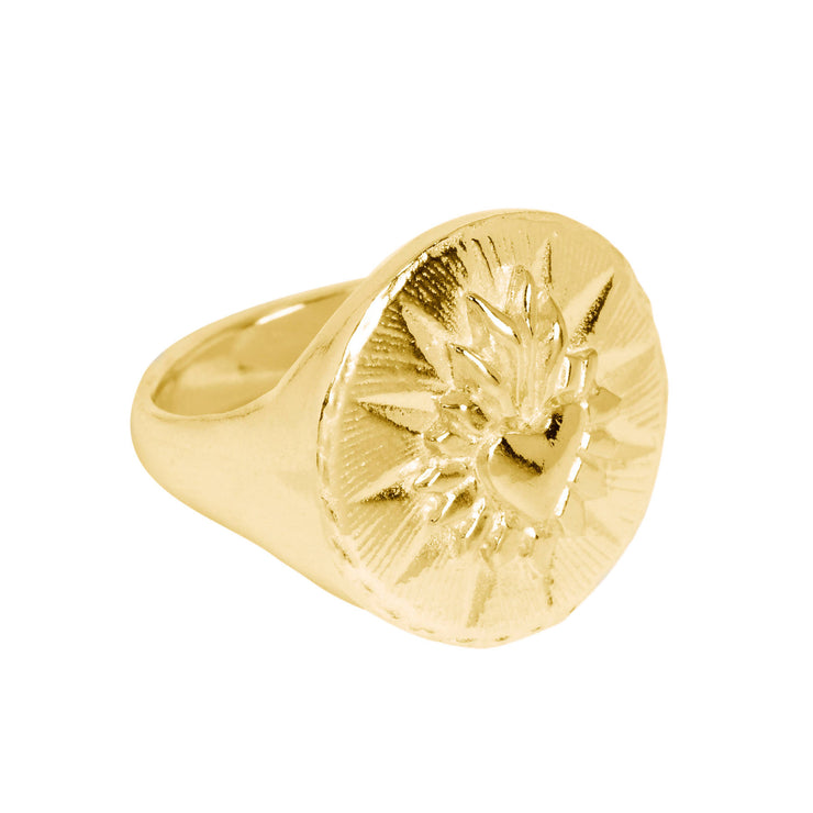Corazon Signet Ring Gold Micron Plated