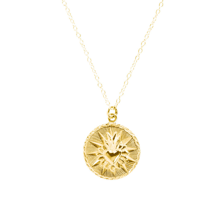 Corazon Round Necklace Gold Micron Plated