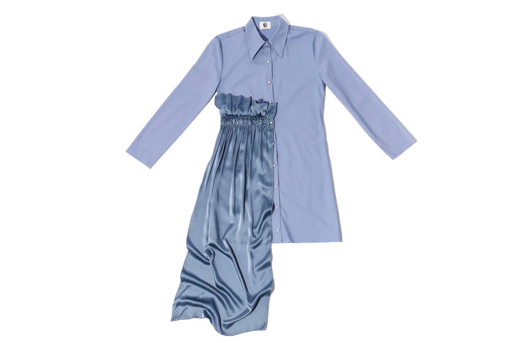 Denim & Silk Draped Shirt Dress