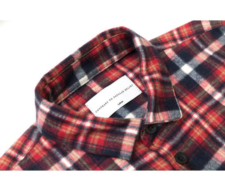 Flannel Button Down | Red/Navy
