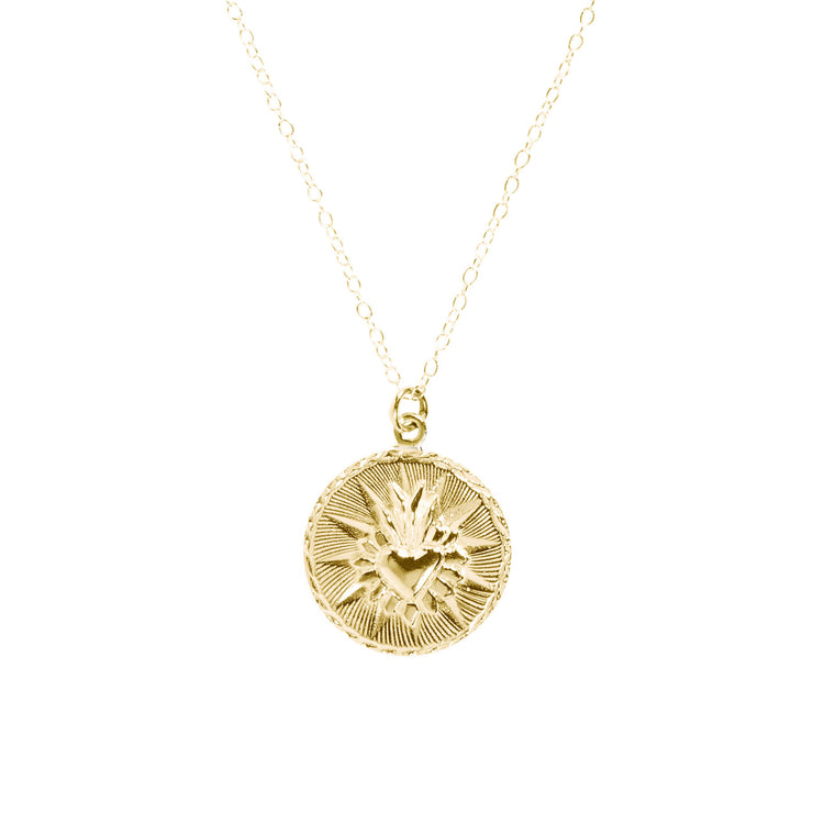 Corazon Round Necklace Brass