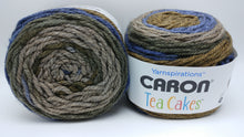 Load image into Gallery viewer, CORNFLOWER Caron TEA Cakes Yarn  - Big 8.5oz/240g - 204 yds/186m - 80/20 Acrylic/Wool - #6 Super Bulky - Brown, Black Blue, Gray