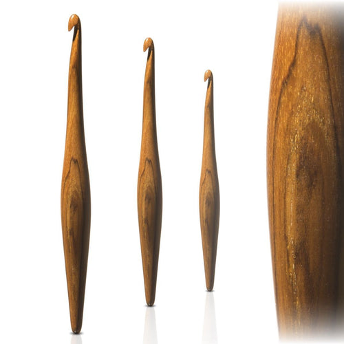 TEAK (replaces Rosewood) Streamline Wooden Crochet Hooks by Furls - Sizes 3.75mm -10mm ~ Don't Let Pain Stop Your Artistic Flow! Made in USA