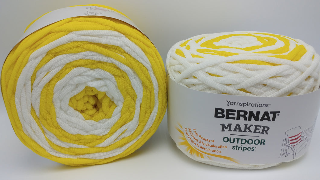 FRESH YELLOW STRIPE Bernat Maker Outdoor Stripes Acrylic/Nylon Yarn - #5 Bulky - Big 8.8oz/250g - 249 yards/228m - Yellow & White Stripes