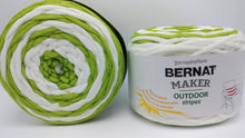 Load image into Gallery viewer, FRESH CITRUS STRIPES Bernat Maker Outdoor Stripes Acrylic/Nylon Yarn - #5 Bulky - Big 8.8oz/250g - 249 yards/228m - Lime Green & White Striped