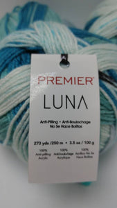 EARTH Colorway of LUNA Anti-Pilling Yarn Ball by Premier Yarns - #3 Light 3.5oz/100g - 273 Yds/250m -Soft Self-Striping Anti-Pilling Blues