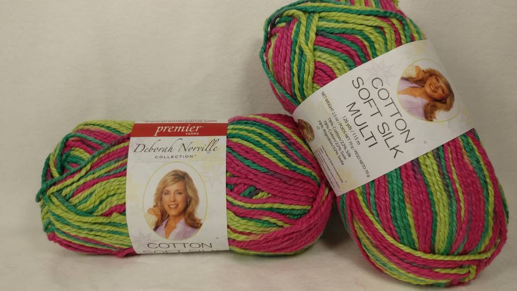 WATERMELON Variegated Cotton Soft Silk from the Deborah Norville Collection - #4 Worsted  2.5oz ~ 126 yds