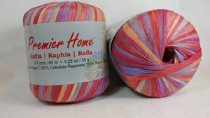 SUNSHINE RAFFIA YARN by Premier Home - #4 Worsted - Variegated Color 1.23oz - 87 Yards Great for Bag Making (99-04)